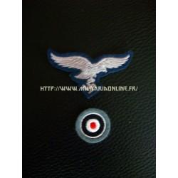 WW2 - Aigle de casquette ou de calot LW bleu-gris + sa cocarde
